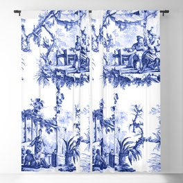 Blue Chinoiserie Toile Blackout Curtain