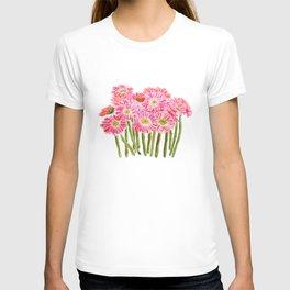 Pink Gerbera Daisy watercolor T-shirt