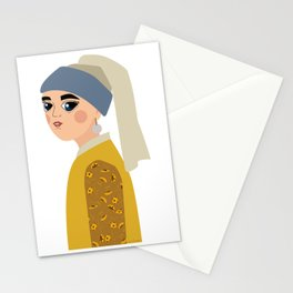 Johannes Vermeer, la mujer de la perla Stationery Cards