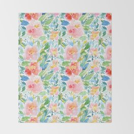 Busy Watercolour Floral Throw Blanket