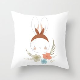 Cute Girly Bunny Throw Pillow