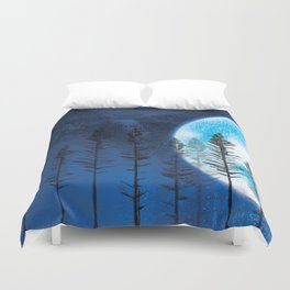 The Boy and the Blue Moon Duvet Cover