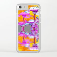 PURPLE-WHITE IRIS MOON REFLECTION Clear iPhone Case