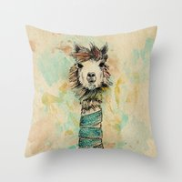 lama Throw Pillows featuring Lama by Anastasia Tayurskaya