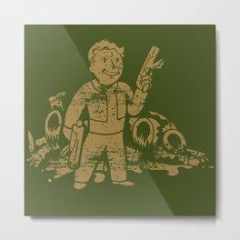 Fallout Vault Boy With Gun Metal Print