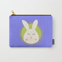 Cute rabbit head with blue circle Carry-All Pouch