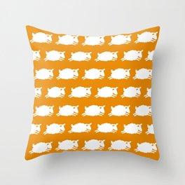Counting Sheep. White on Orange. Throw Pillow