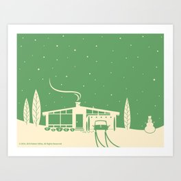 Mid-Century Snowscape in Green Art Print