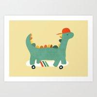 Dinosaur on retro skateboard Art Print