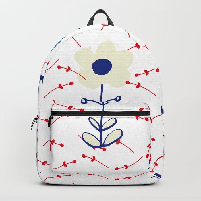 Cute folk flower white Backpack