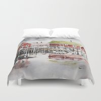 norway Duvet Covers featuring Rorbu huts in Norway by Karolina Ostrowska