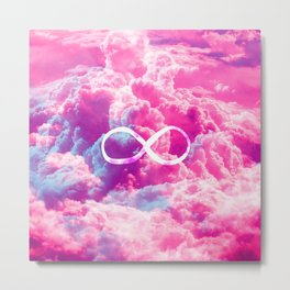 Girly Infinity Symbol Bright Pink Clouds Sky Metal Print