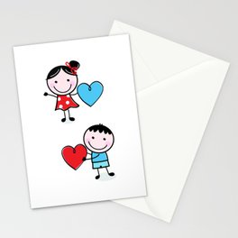 New in shop : Love Kids illustrations / blue red Stationery Cards