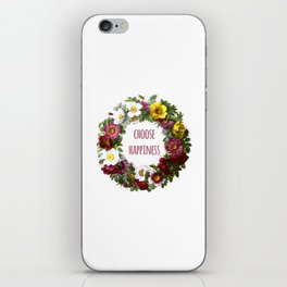 Choose happiness - Inspirational Quote + Vintage Illustration Print iPhone Skin