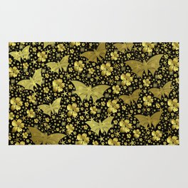 gold, golden, flowers, stars, butterfly, pattern, bright, shiny, elegant, color Rug