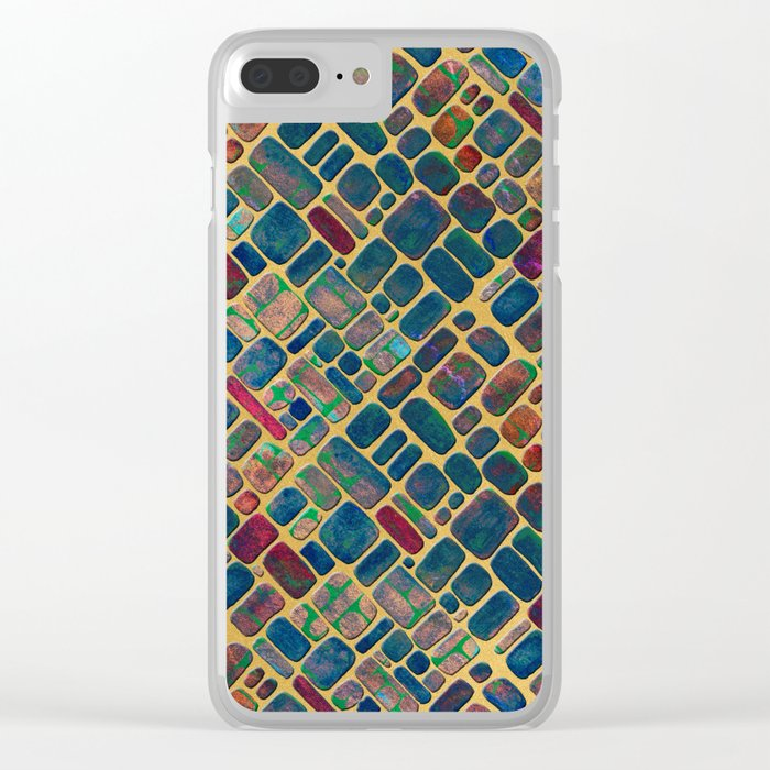 Abstract Tile Mosaic 2 Clear iPhone Case
