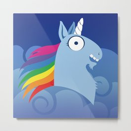 Silly Bestiary: Blue Unicorn Metal Print