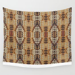 Orange Khaki Dark Caramel Coffee Brown Rustic Native American Indian Mosaic Pattern Wall Tapestry