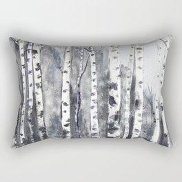 birch forest black white Rectangular Pillow