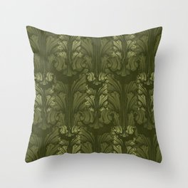 Olive Green Classic Acanthus Leaves Pattern Throw Pillow