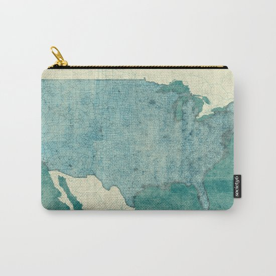 United States Of America Map Blue Vintage Carry-All Pouch