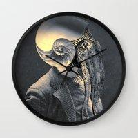 marine Wall Clocks featuring MARINE by Julia Lillard Art