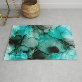 Mystic Water: Original Abstract Alcohol Ink Painting Rug