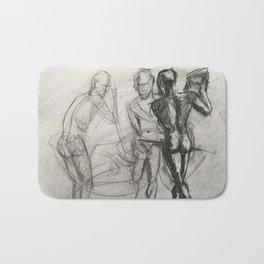 Three figures in charcoal Bath Mat