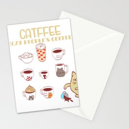 Cafe Espresso Black Americano Coffee Caffeine Cat Morning Person Feline Claw Claws T-shirt Design Stationery Cards