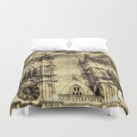 downton abbey Duvet Covers featuring Westminster Abbey London Vintage by David Pyatt