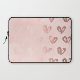 Rosegold Hearts on Pink Laptop Sleeve