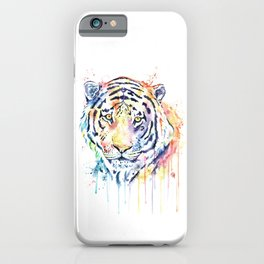 Tiger - Rainbow Tiger - Colorful Watercolor Painting iPhone Case