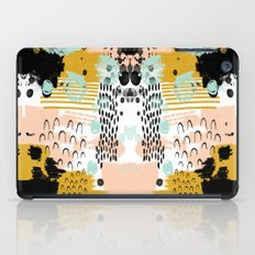 Ames - Abstract painting in free style with modern colors navy gold blush white mint iPad Case