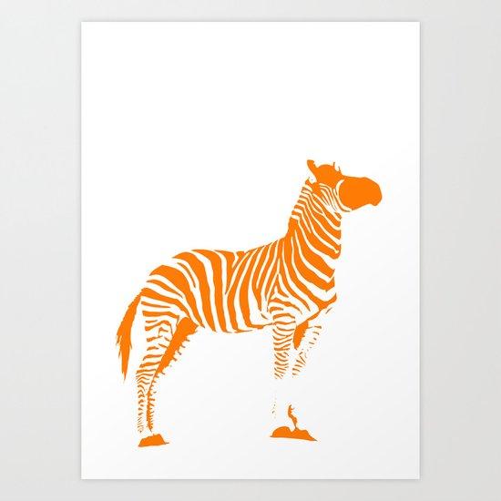 Animals Illustration Zebra Art Print