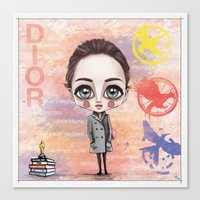 jennifer lawrence Canvas Prints featuring Jennifer Lawrence by Joana Pereira