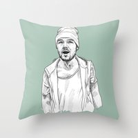 liam payne Throw Pillows featuring Liam Payne  by Cécile Pellerin