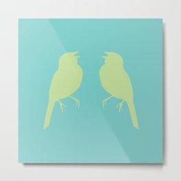 facing song sparrows (color) Metal Print