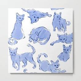 Cat Crazy blue white Metal Print
