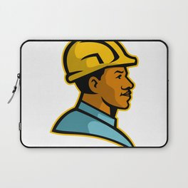 African American Construction Worker Mascot Laptop Sleeve
