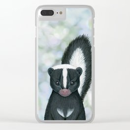 striped skunk woodland animal portrait Clear iPhone Case