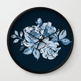 Country Rose on Indigo Wall Clock