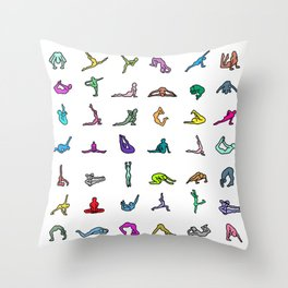 Rainbow Yoga Poses Throw Pillow