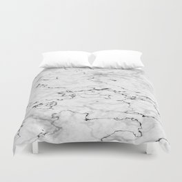 Marble White, Black and Gray Texture Abstract Photography Design Duvet Cover