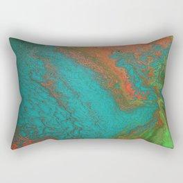 Rusty Jade: Acrylic Pour Painting Rectangular Pillow