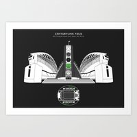 seahawks Art Prints featuring CENTURYLINK FIELD - Seahawks - Seattle Sounders  by Dick Smith Designs