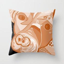 Pit Bull Sepia Tones Throw Pillow