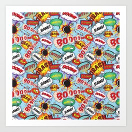 Super Hero Comic Book Caption Pattern Art Print