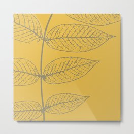 Leaves, Gray and Yellow Ochre Metal Print