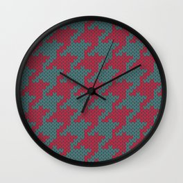 Faux knit retro houndstooth  Wall Clock