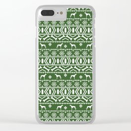 Whippet fair isle dog breed pattern christmas holidays gifts dog lovers green and white Clear iPhone Case